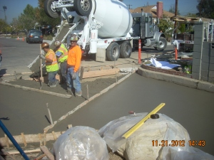 Concrete pour for entry