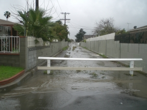 Flooded Paseo North Entry Before